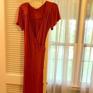 Burgundy wrap around Maxi Dress